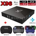 S905X X96 2 GB RAM 16 GB Amlogic Quad Core Android 6.0 Smart TV Box WIFI HDMI 4 K Kodi Totalmente Cargado PK M8s Set Top Box + i8 retroiluminada