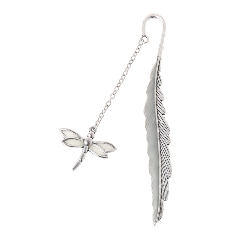 Glow In The Dark Luminous Book Marker Creative Feather Dragonfly Bookmark Label School Office Stationery