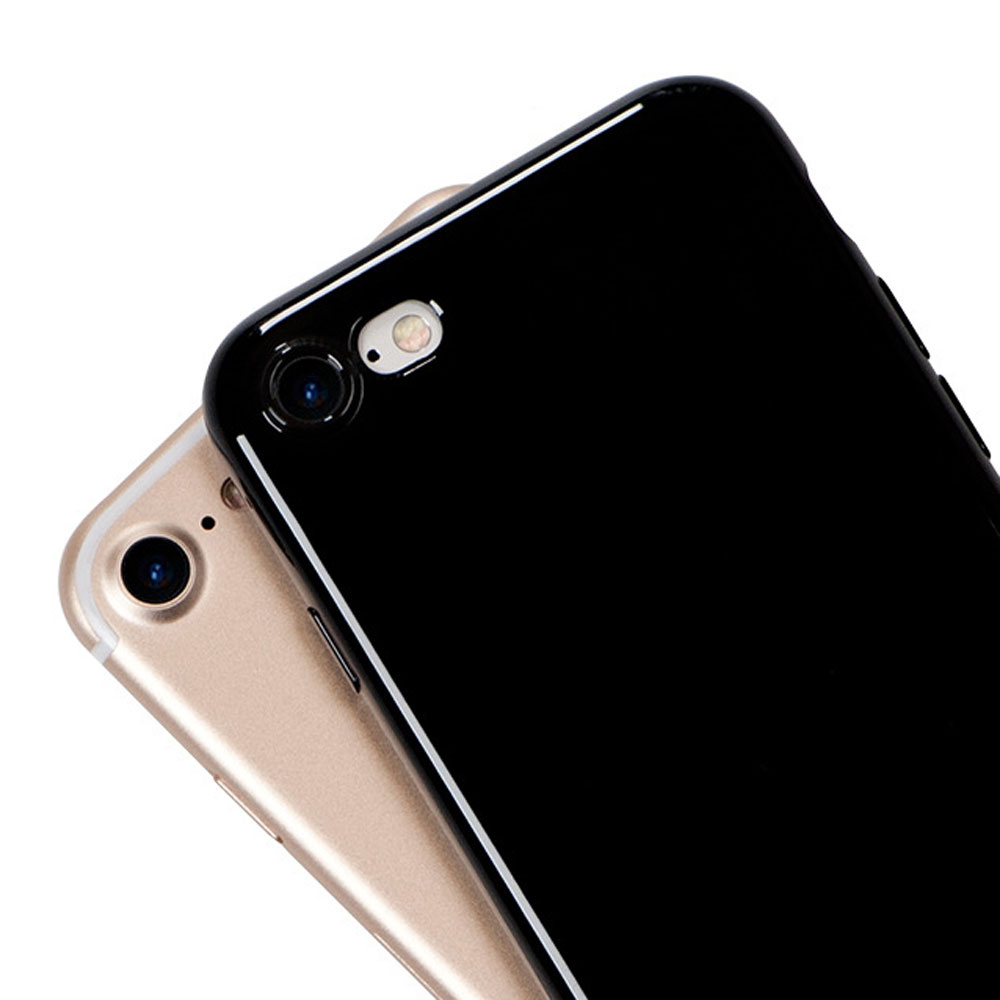 Jet Black Case for iPhone 7 7 Plus Ultra Thin Slim Glossy Black Jelly Cases Flexible Shockproof Silicone Phone Cases Covers
