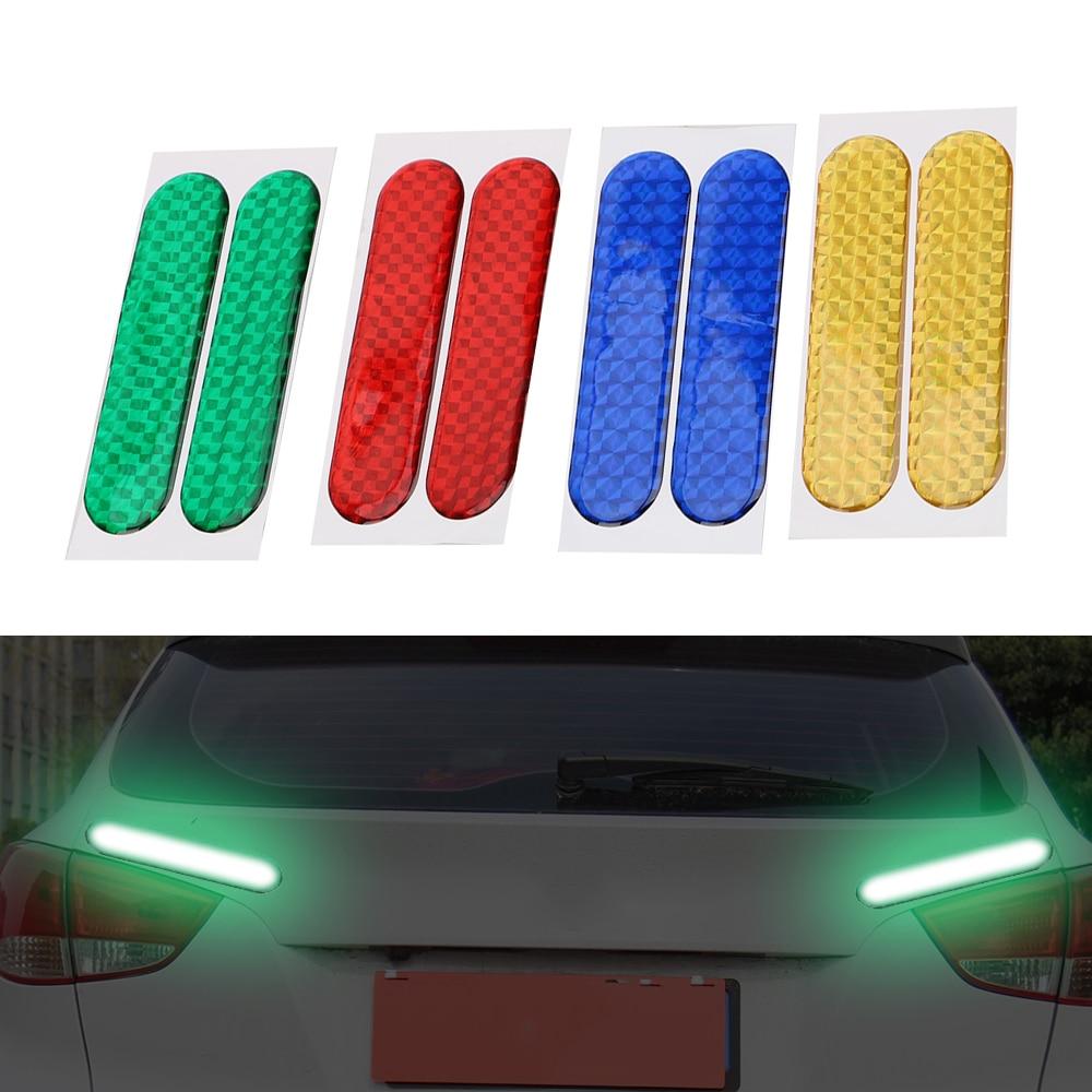 все цены на 2pcs Reflective Strips Car-styling Car Reflective Stickers Warning Tape Safety Mark Car Door Sticker Decal 4 Colors онлайн