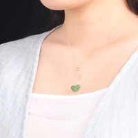 JoursNeige Green Natural Stone Pendants Carved Butterfly Necklace Lucky For Women Girl Pendant Necklace Clavicle Chain Jewelry