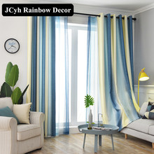 Modern Linen Blackout Curtains For Living room Blue Striped Window Bedroom Cortinas salon Fabric Draps Tende 80%