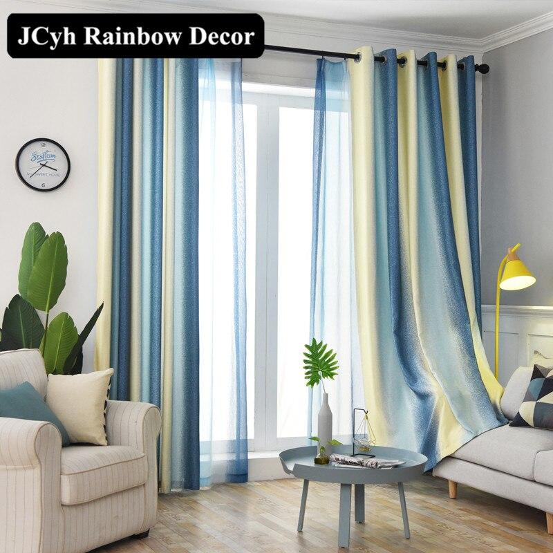 Moderno linho cortinas blackout para sala de estar azul listrado janela cortinas para o quarto salão beleza tecido draps tenda 80%