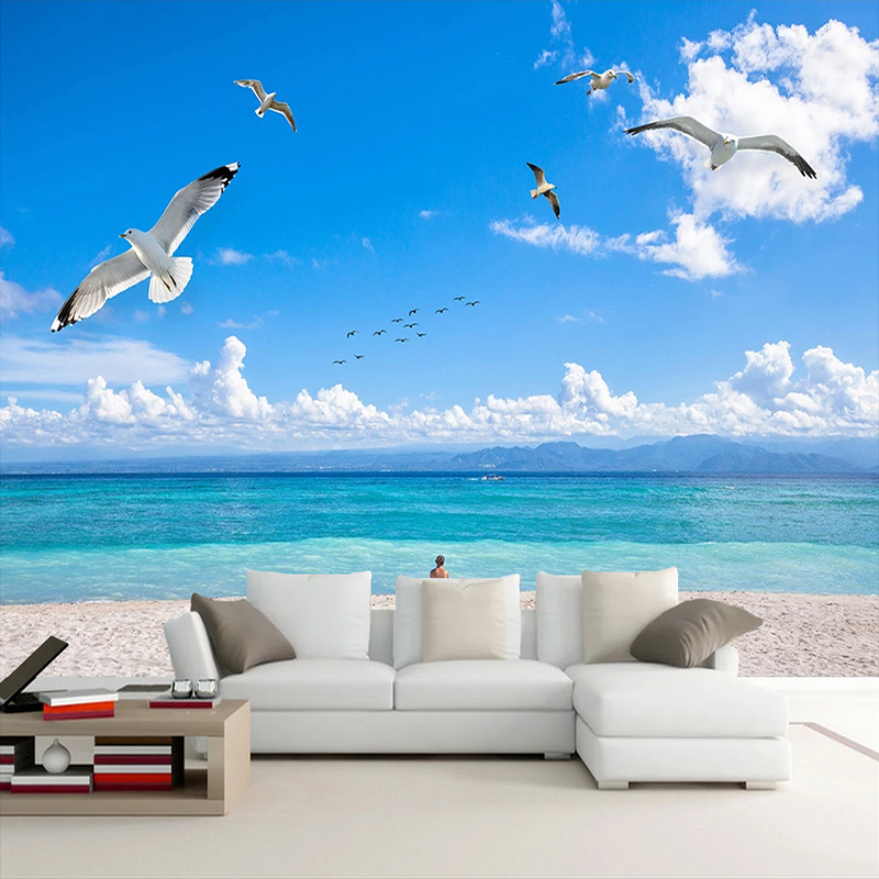 Custom Mural Blue Sky White Clouds Seagull Beach Scenery 3D Photo Wallpaper Living Room Bedroom TV Background Wall Paper Modern