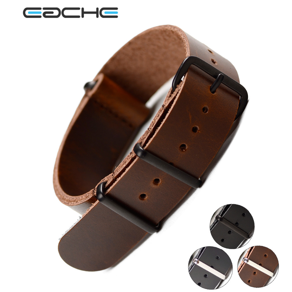 EACHE Nato Genuine Leather Watch Straps Long Strap 270mm Dark Brown Black 20mm 22mm Watch Band Silver&Black Buckle In Stock 18mm 20mm 22mm 24mm 26mm nato strap genuine leather black green brown yellow watch band black buckle silver buckle nato straps