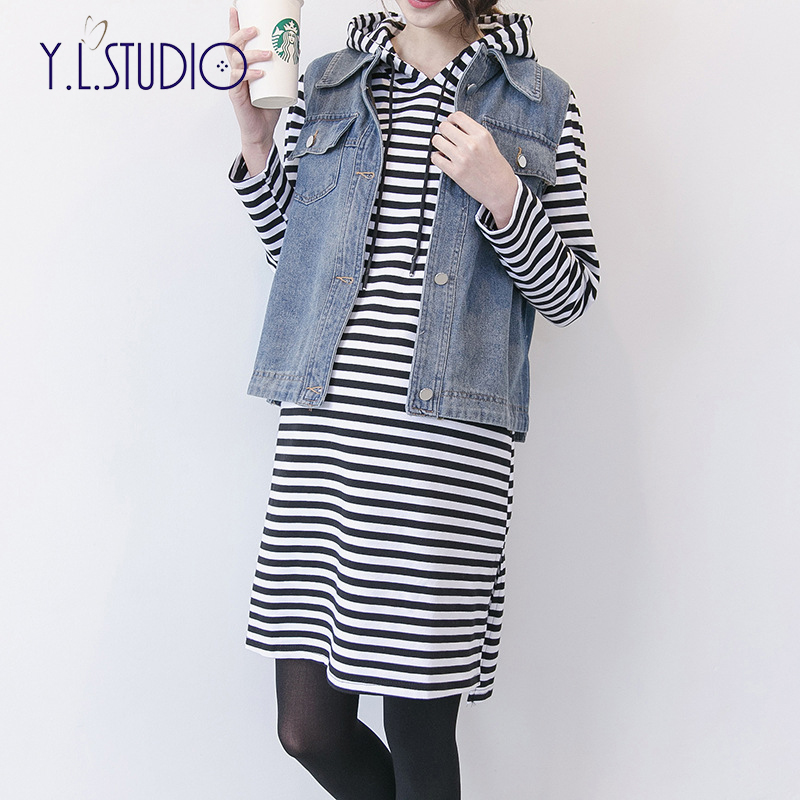 New Autumn Thin Section Maternity Dresses Long Black and White Striped Pullover Denim Vest Pregnant Woman Pajamas Two-piece недорого