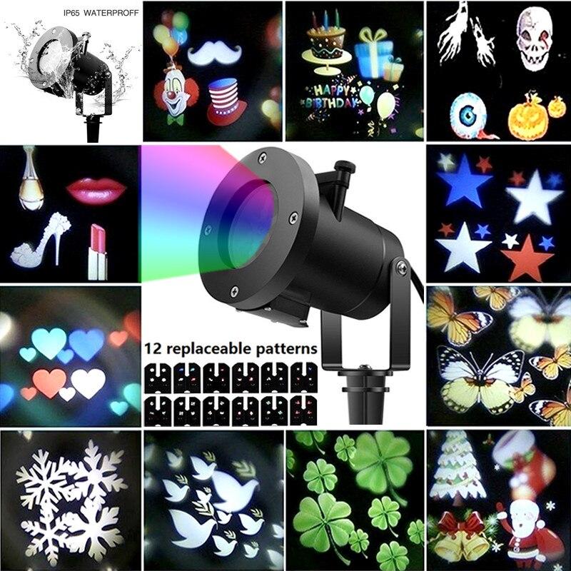 12 modèles noël vacances décoration Laser lumière flocon de neige projecteur extérieur LED 6 W étanche maison jardin étoile lampe décor