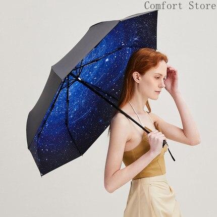 Protection Uv ciel étoilé parapluie Parasol soleil crème solaire femmes pliable Parasol Ultra léger Mini parapluie Portable U5B262