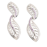 Leaf Shape Purple Amethyst 2 2mm Semi Precious Silver Cool For Womens Stud Earrings ED0397