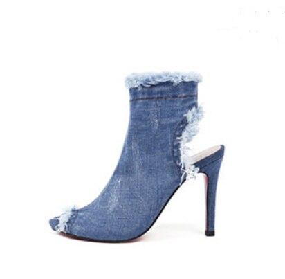 2017 Europe et états-unis gros trou cowboy tissu cool bottes élastiques bottes fines à talons hauts taille 3340 poisson bouche sandales