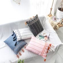 Spring Cushion Cover Pink Blue Black White Home Decorative Embroidery Tassels Pillow Cover for Home Sofa Bed Rectangle 38x48cm(China)