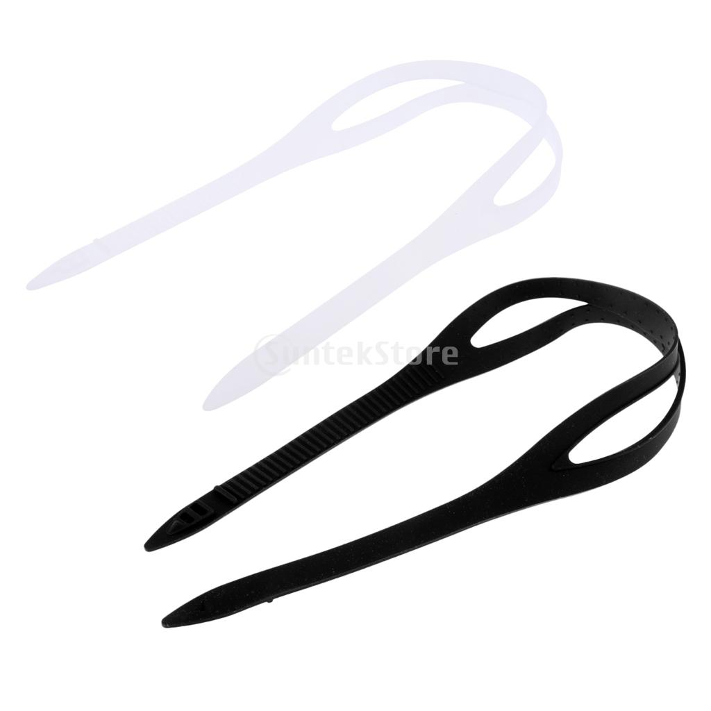 2 Pcs Black+Clear Universal Swimming Goggles Swim Glasses Eyewear Silicone Strap Head Band Replacement Spare Accessories