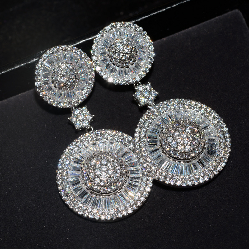 Sale fashion jewelry real needle hollow carved female crystal from Swarovski high-end wedding jewelry earrings