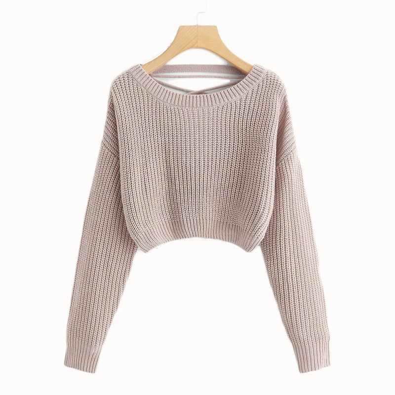 3d392bcf1 COLROVIE Pink Korean Criss Cross V Back Winter Crop Knitted Sweater Women  Clothes 2018 Autumn Pullover