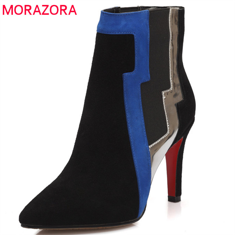 MORAZORA 2018 Top quality womens boots in autumn winter high heels shoes genuine leather boots pointed toe zip ankle boots party 2016 autumn and winter fashion high top shoes male pointed toe leather casual shoes men s ankle boots