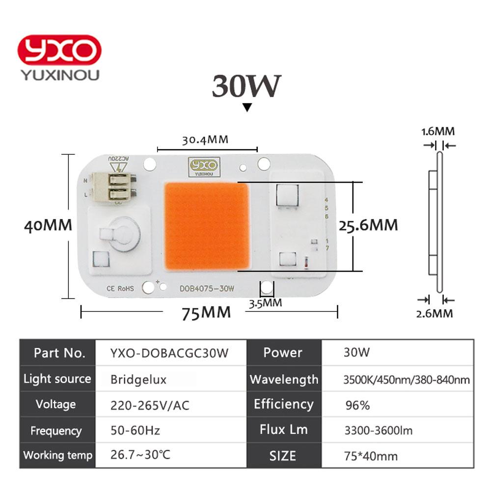 Image 5 - 10PCS Smart IC LED DOB Chip AC 220V 110V 20W 30W 50W LED Lamp Light Cover Lens Reflects DIY For LED Grow Light LED FloodlightLED Grow Lights   -