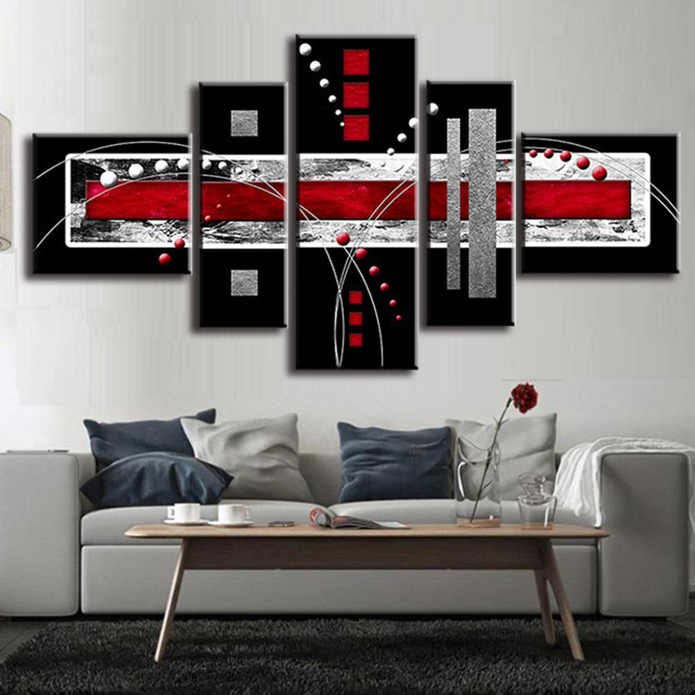 5pcs unframed abstract oil painting red black grey grid for 10x20 living room