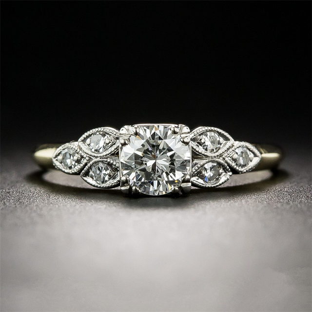 Round 0.5 CT  Moissanites Lab Grown Diamond 14k Two Tone Gold Cluster Accents Antique Filigree Art Deco Engagement Ring