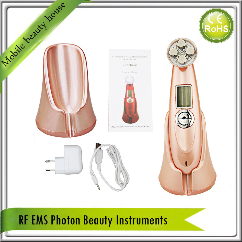 Rechargeable Mini rf Radio Frequency Face Lifting Skin Tightening Wrinkle Removal Led Photon EMS Vibration Beauty Device rechargeable rf radio frequency skin tightening ems face lift led photon skin rejuvenation beauty device free shipping