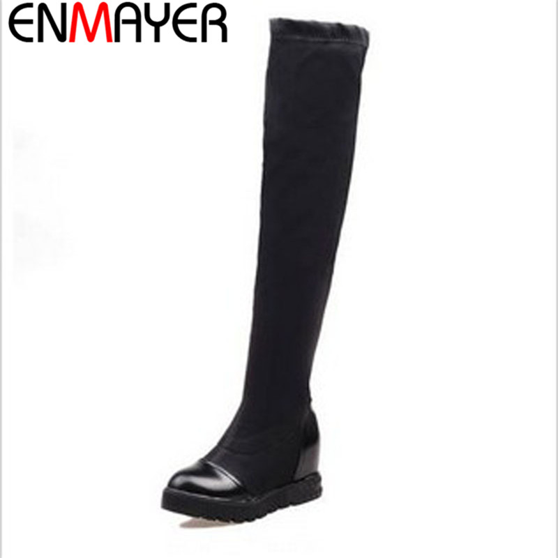 ФОТО ENMAYER Size 34-43 New Fashion Women Boots Round Toe  Sexy Winter Over The Knee High Boots Women Wedges Platform Boots Sale
