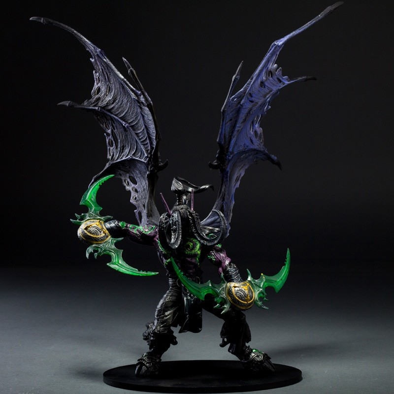 29cm WOW Demon hunter Form ILLIDAN STORMRAGE Deluxe Collector Boxed Action Figure BLACK Purple Model Toy Gift все цены