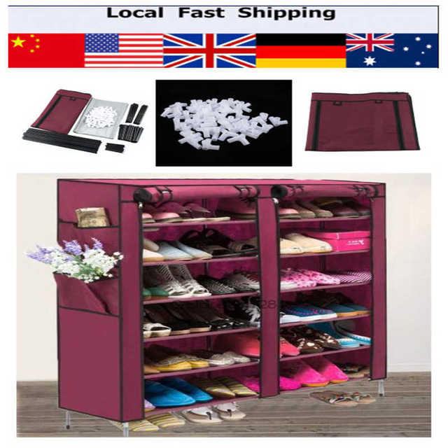 6 Layer 12 Grid Non Woven Fabric Shoe Rack Shelf Storage Closet Organizer  Cabinet Shoes