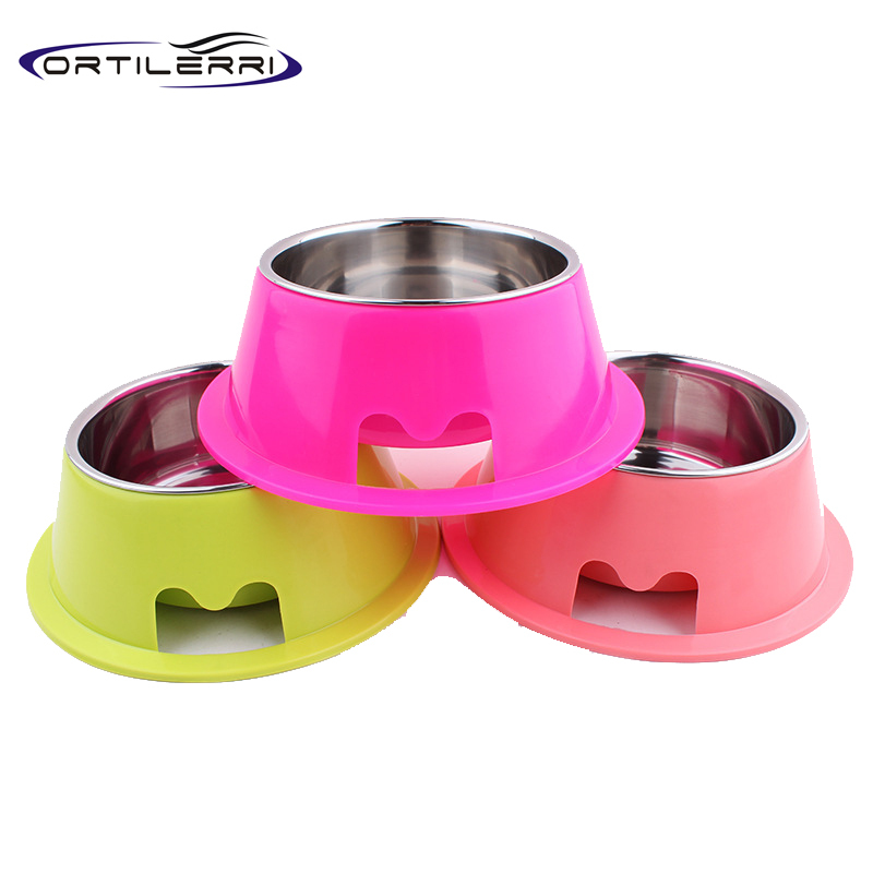 Ortilerri Pet Feeding Supplies Stainless Steel Dog Feeding Bowl Cat Puppy Food Dish Pet Drink Water Bowl Non Slip Dog Bowl