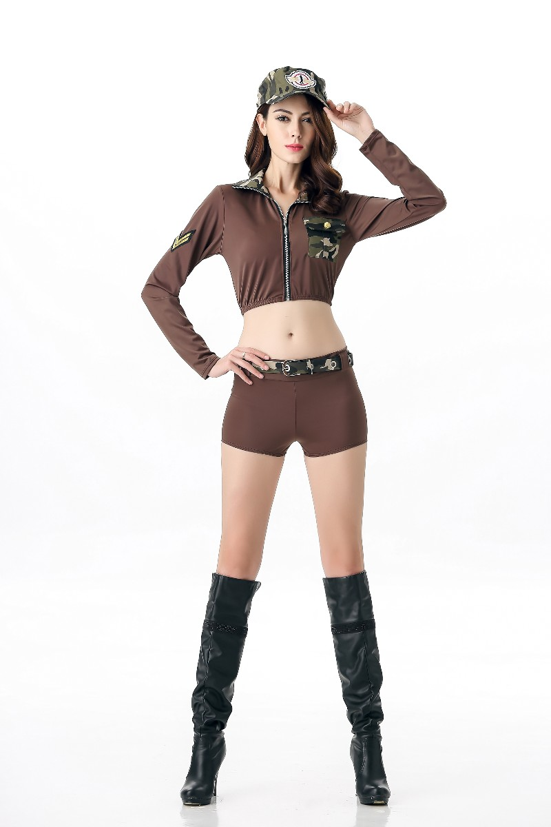 Free Shipping Camouflage Female Soldier USA Female Pilot Police Uniform Sexy Costume Slim Halloween Nightclub Costumes