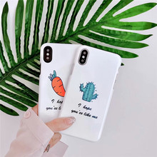 Cyato Luxury Hard UV Glossy PC Phone Case For iphone X 7 6 6s 8 Plus Fashion Funny cactus carrot Back Cover Ultra thin Cases