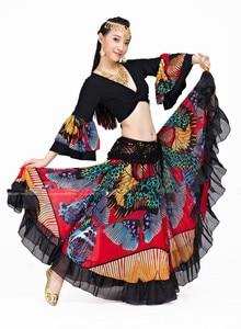 Image 1 - Falda gitana con estampado de flores de 720 grados, ropa con diseño Tribal para danza del vientre, prendas Flamenco, envío gratis