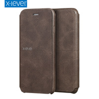 X Level Luxury Cowboy Ultra Thin Nostalgia PU Leather Flip Phone Case For Iphone 7 Stand