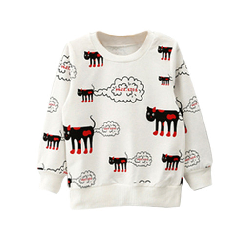 Spring Winter Children Kids Girls Toddlers Cartoon Cat Print Long Sleeve T Shirts Tee Tops Sweater Clothes 2-7Y