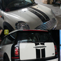 Hood+Trunk Engine+Rear Line Car Stickers And Decals Car styling For Mini Cooper S Clubman R55 5 Doors 2008 2015 Accessories