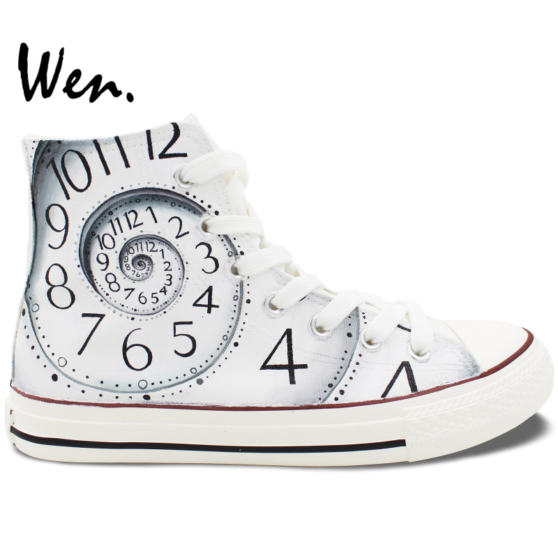ФОТО Wen White Hand Painted Shoes Design Custom Clock Unisex High Top Canvas Sneakers Christmas Birthday Gifts