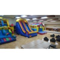 Tobogán inflable de PVC de 0 55mm  tobogán deportivo de interior para niños con techo y soplador potente