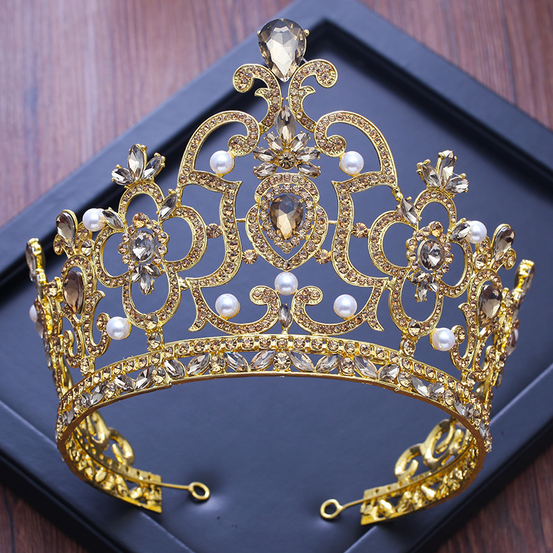 New Luxury Crystal Queen Crown Rhinestone Bridal Tiara Pageant Prom Wedding Hair Jewelry Pearl Bride Hairbands Hair Accessories