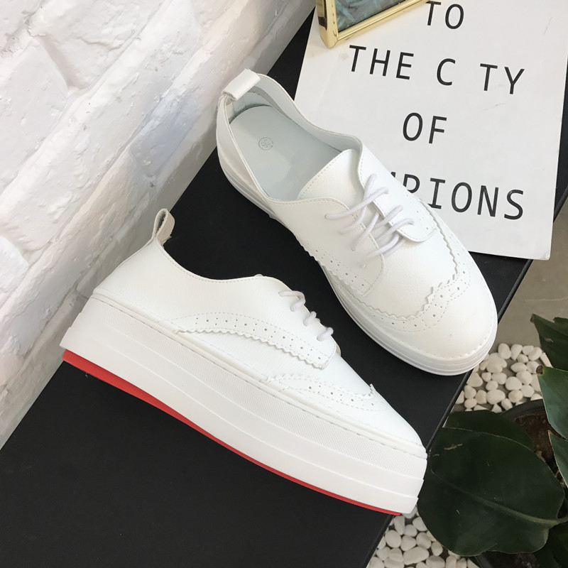 Genuine Leather Breathable Women Sneakers Fashion Increase Shoes for Women Lace up White Shoes Creepers Platform Shoes 2018 ...