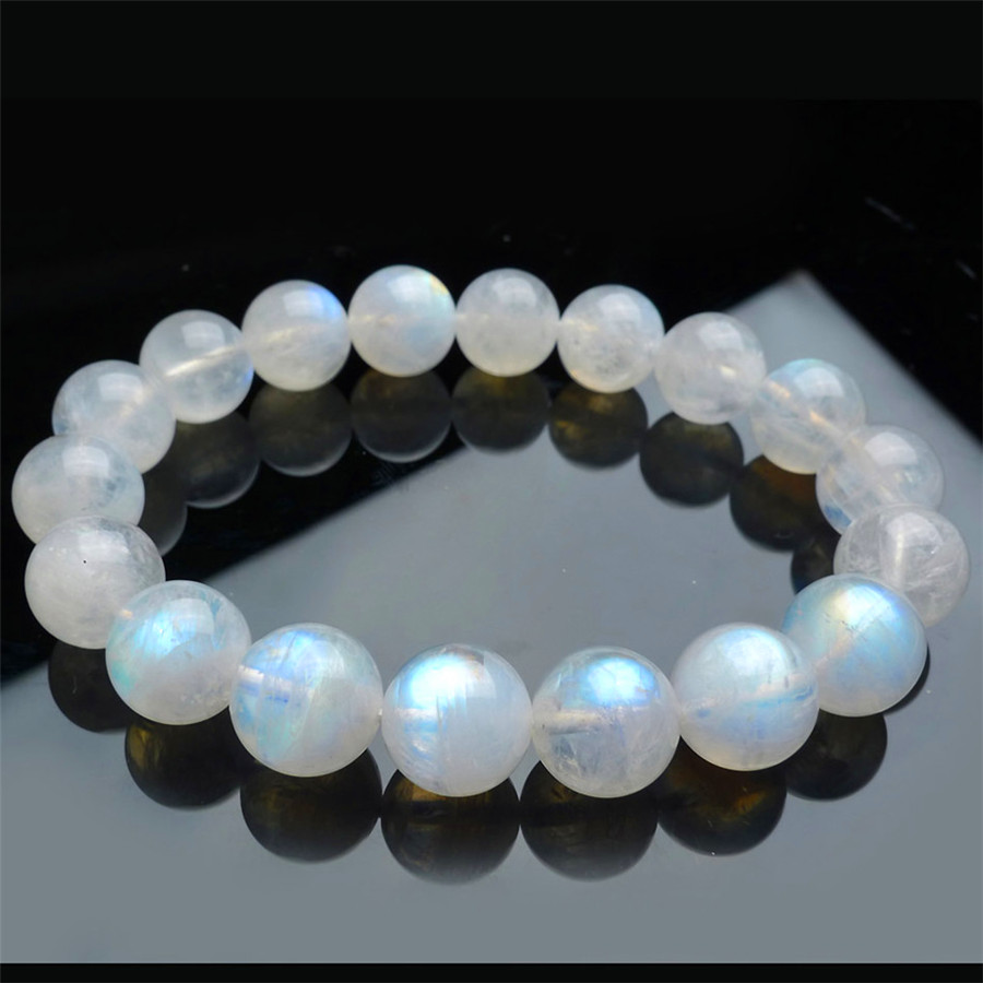 11mm Blue Light Natural Moonstone Bracelets For Women Charm Stretch Crystal Round Beads Bracelet Free Shipping In Strand From Jewelry