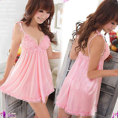 Hot Women Lingerie Underwear Sleepwear Nightwear Pajama Dress Chemise Pink