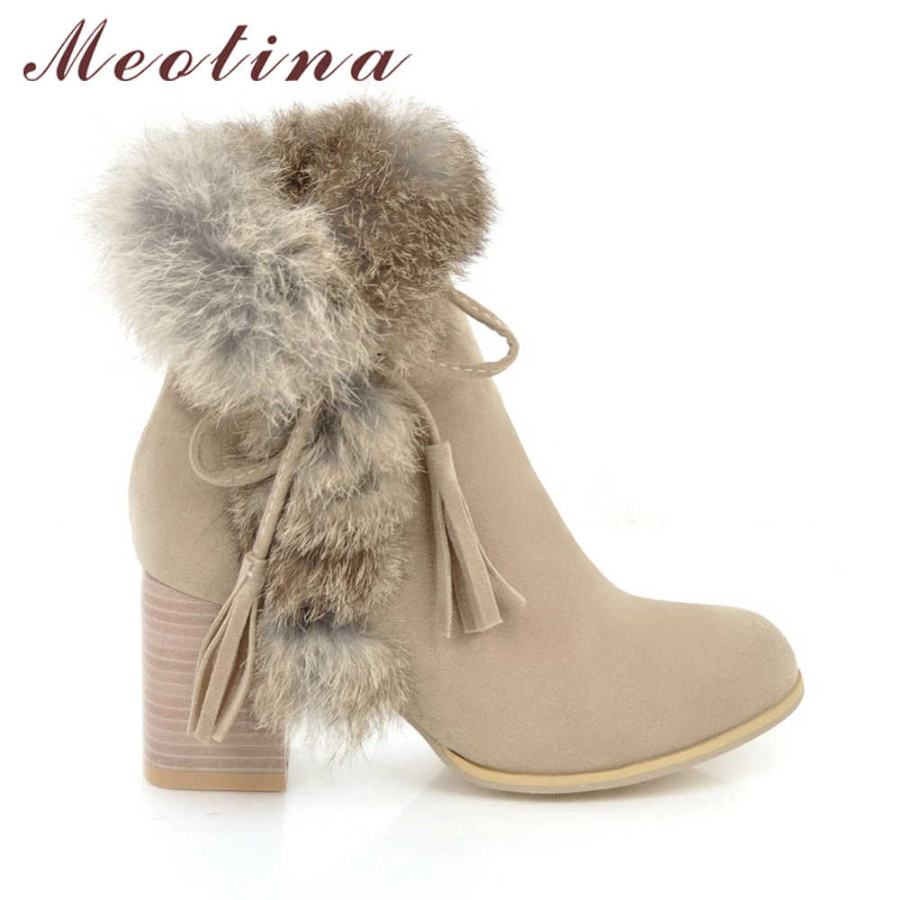 fcb9a0d9dee ... Meotina Women Ankle Boots Winter High Heels Fur Bow Thick Heels Short  Boots Zipper Ladies Autumn ...