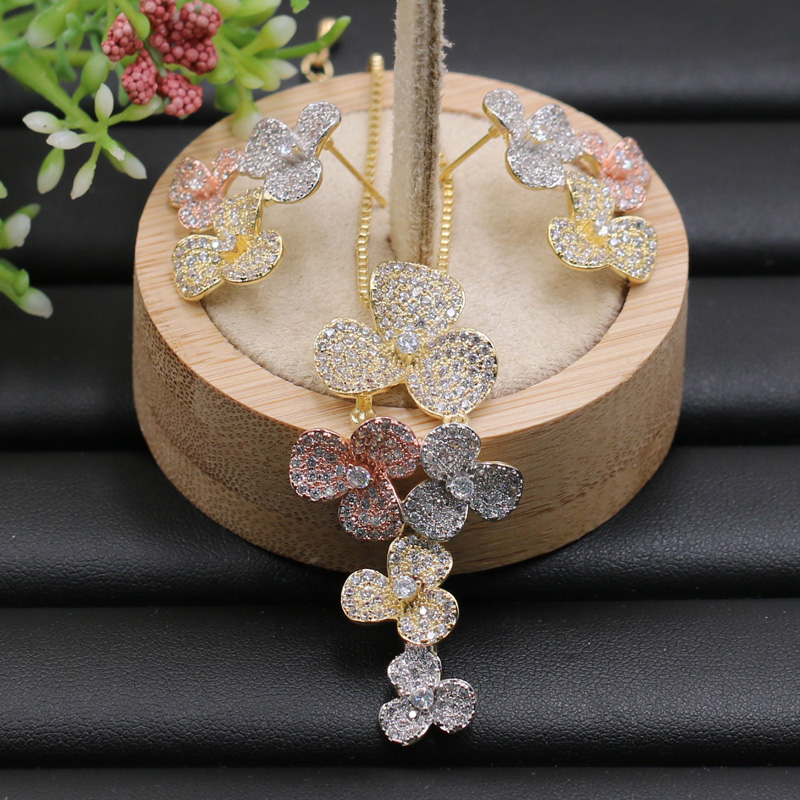 Lanyika Jewelry Set Exquisite Three Leaf Flower Tassel Full Plated Necklace With Earrings Wedding Engagement Popular Best Gifts