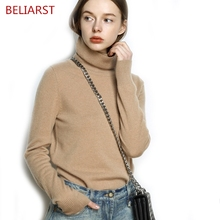 BELIARST High Collar Cashmere Sweater Woman Slim Bottoming Short Long Sleeve