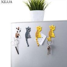 Xzjja 2pcs Cartoon Magnetic Key Hook Microwave Oven Kitchen Refrigerator Magnet Family Decorative Storage
