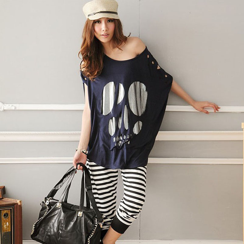 GZDL Batwing Short Sleeve Skull Print Women Casual Loose ...