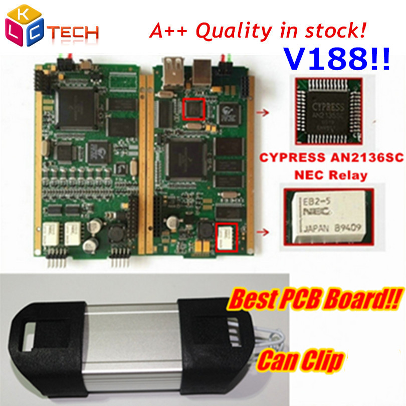 Russion Stock!!Best Gold Side PCB Board Can Clip V188 With CYPRESS AN2135SC/2136SC Chip A+ OBD2 Diagnostic Scanner Tool