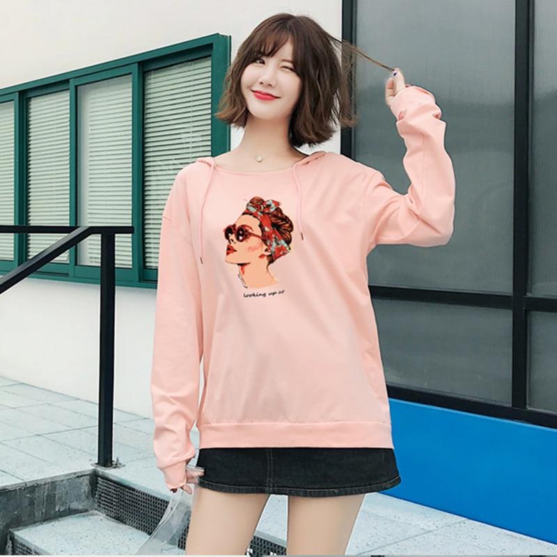 Hooded Women Pullover 2018 autumn korean harajuku Long Sleeve Print Womens Hoodies Sweatshirts New Streetwear Plus Size Clothes