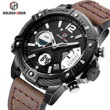 GOLDENHOUR Men Watch Top Luxury Brand Men's Military Sports Watches Leather Quartz Wristwatch Waterproof LED Digital Male Clock(China)