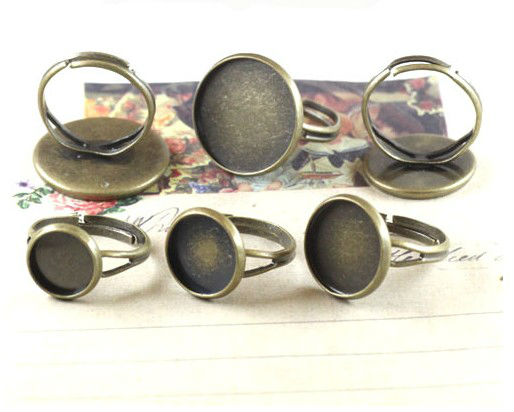 15PCS Antiqued bronze 18mm cabochon settings adjustable Rings #<font><b>23003</b></font> image