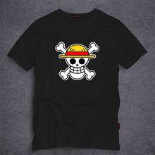 Anime One Piece Cappello di Paglia Pirati Sumerr degli uomini Breve sleevs  magliette mugiwara stampato in cotone t merde fashion. b0fee62b8990