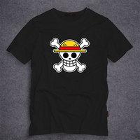 Hot Anime One Piece T Shirt Luffy Straw Hat Japanese Anime T Shirts Cotton O-neck Short Sleeve T-shirt Men Anime Design T-shirt